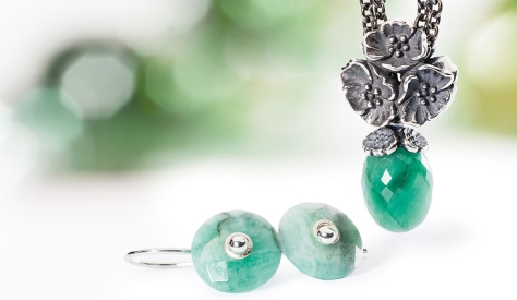 Trollbeads Cherry Blossom Emerald Fantasy Collection