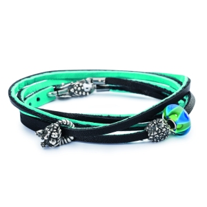 Trollbeads Leather Bracelet Cyan Key