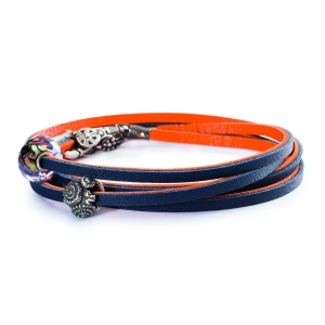 Trollbeads Leather Bracelet Orange Navy