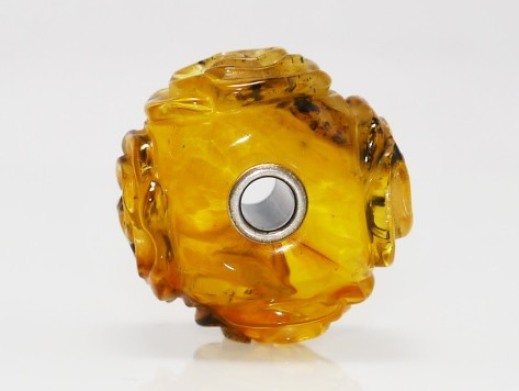 Trollbeads Giant Carved Amber Rose
